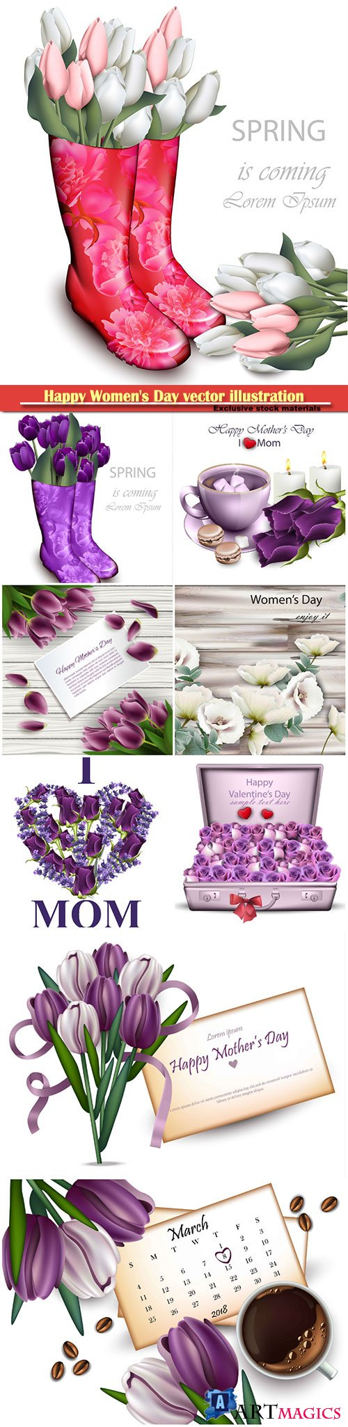 Happy Women's Day vector illustration,8 March, spring flower background # 9