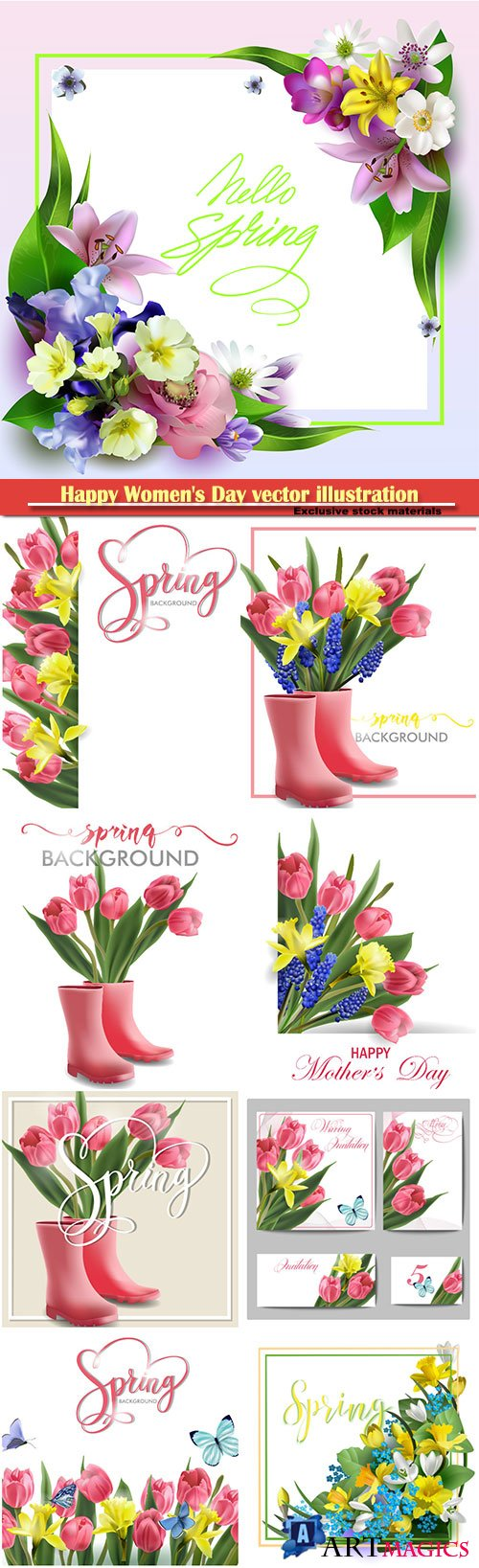 Happy Women's Day vector illustration,8 March, spring flower background # 10