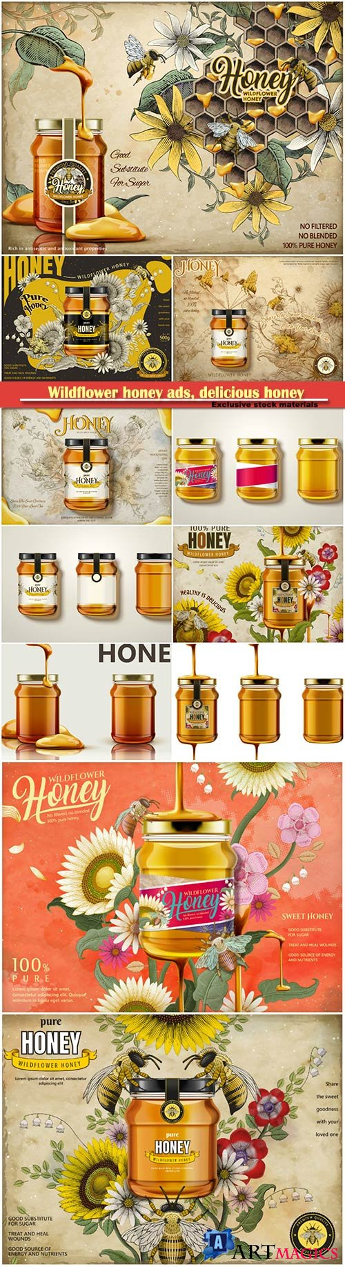 Wildflower honey ads, delicious honey dripping from top with glass jar in 3d illustration, retro flowers elements in etching shading style