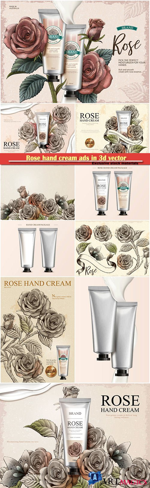 Rose hand cream ads in 3d vector illustration