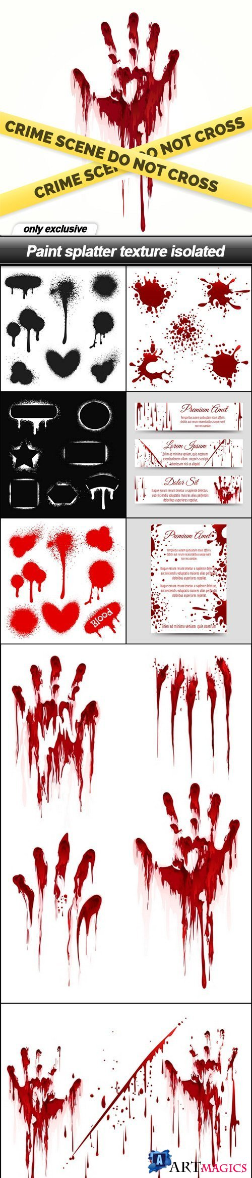 Paint splatter texture isolated - 8 EPS
