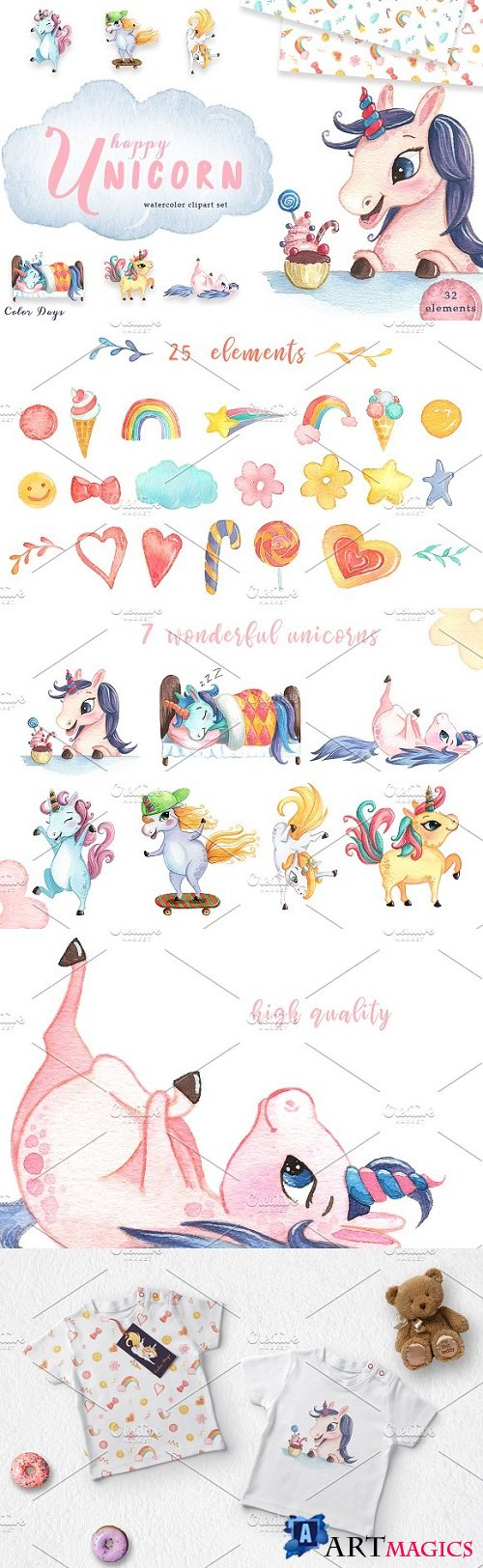 Watercolor Unicorn Clipart Set 2257703