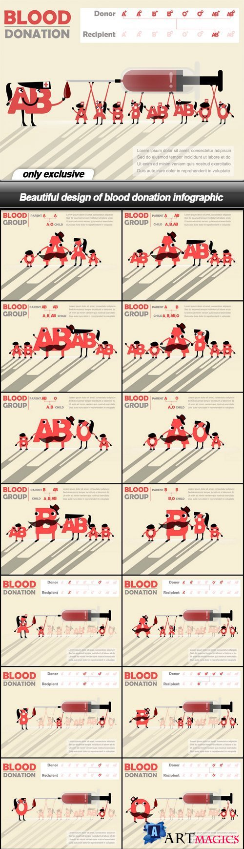 Beautiful design of blood donation infographic - 17 EPS