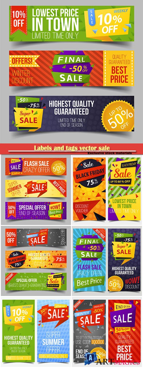 Labels and tags vector sale, discount stickers