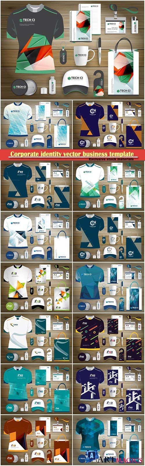Corporate identity vector business template set
