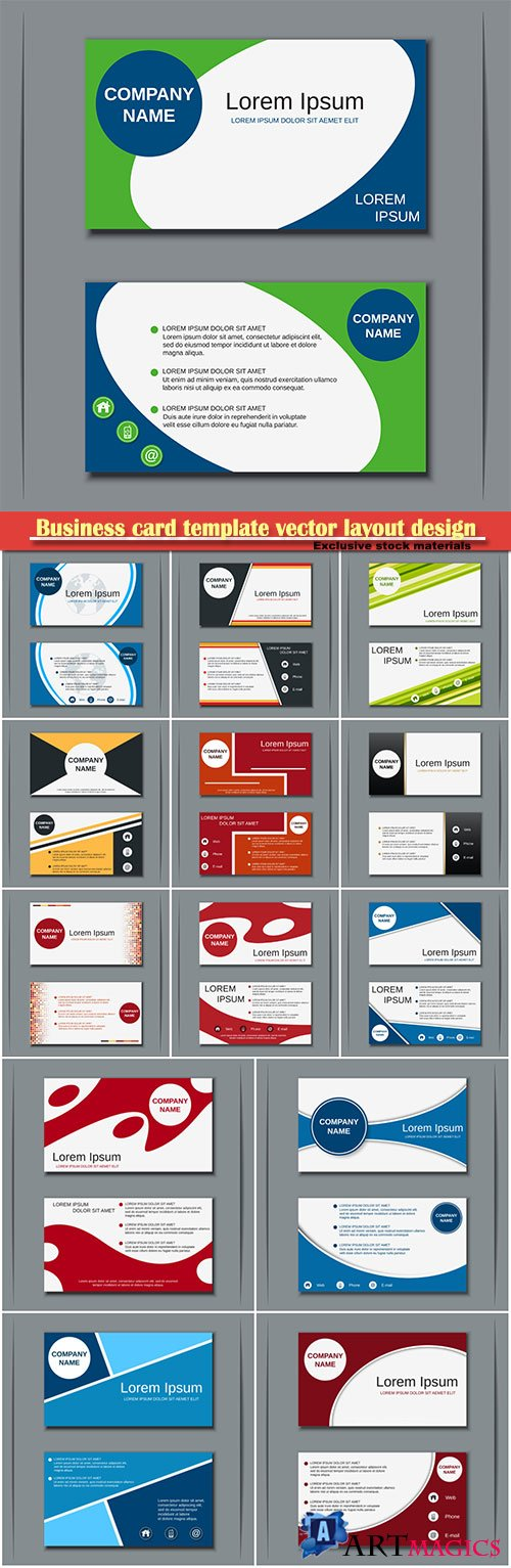 Business card template vector layout design