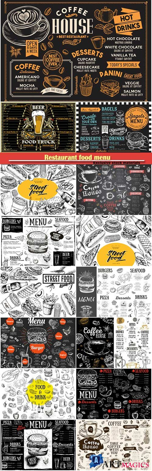 Restaurant food menu, bakery, burger, hot dog, french fries, pizza, coffee, hand drawn vector illustration