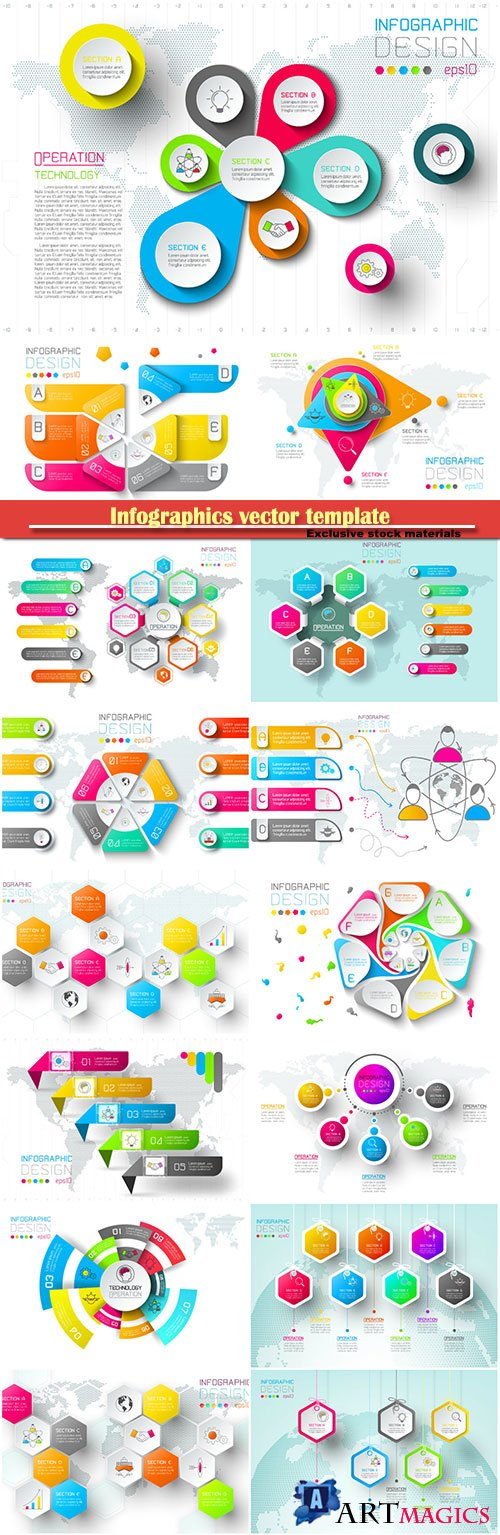 Infographics vector template for business presentations or information banner # 38
