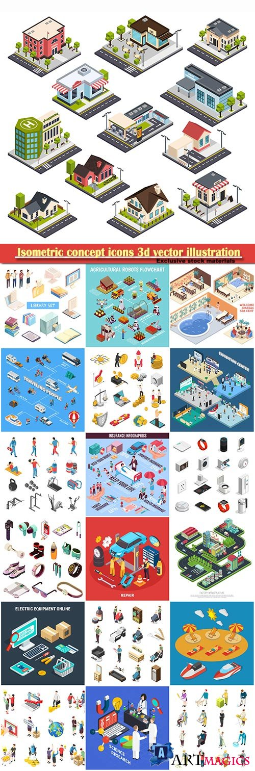 Isometric concept icons 3d vector set