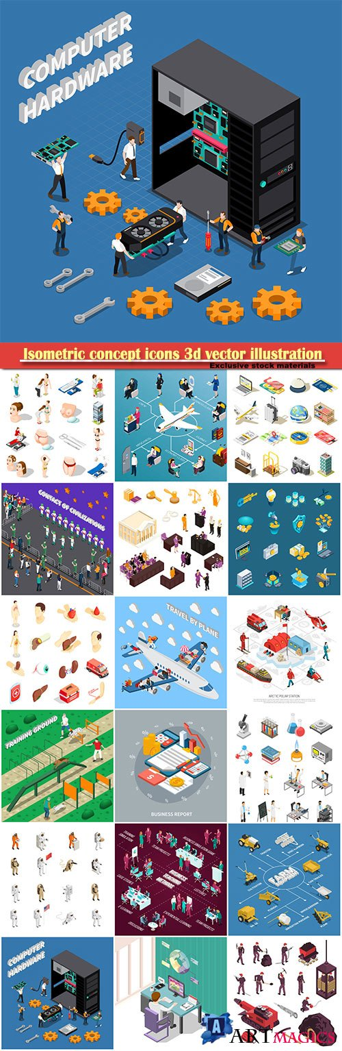 Isometric concept icons 3d vector illustration