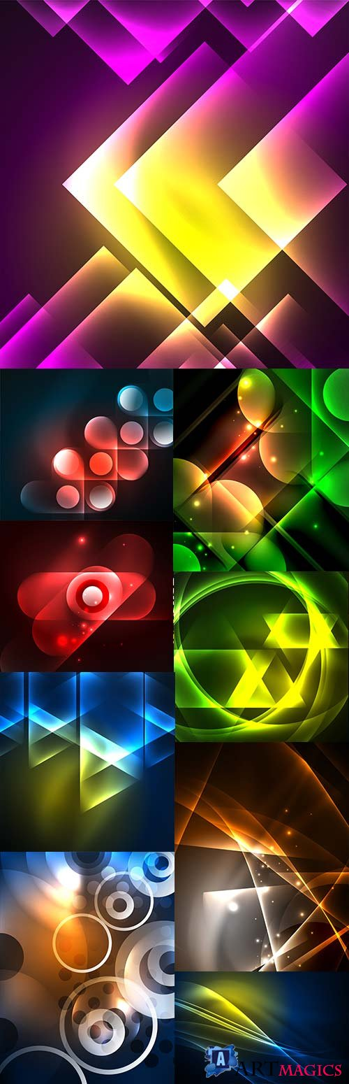 Bright abstract neon background decorative elements 2