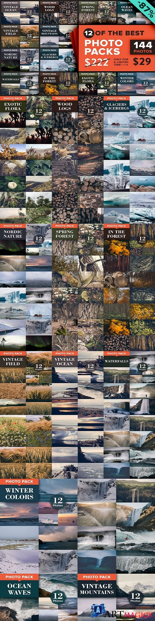 12 Photo Packs - 144 Nature Photos - 871470