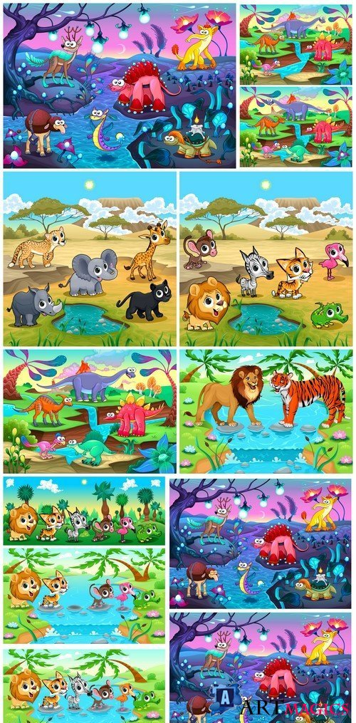 Set of funny wild animals in the nature 9X EPS