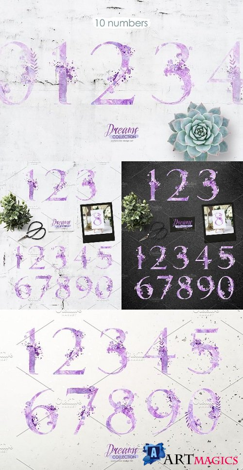Watercolor numbers - DREAMS - 2279518