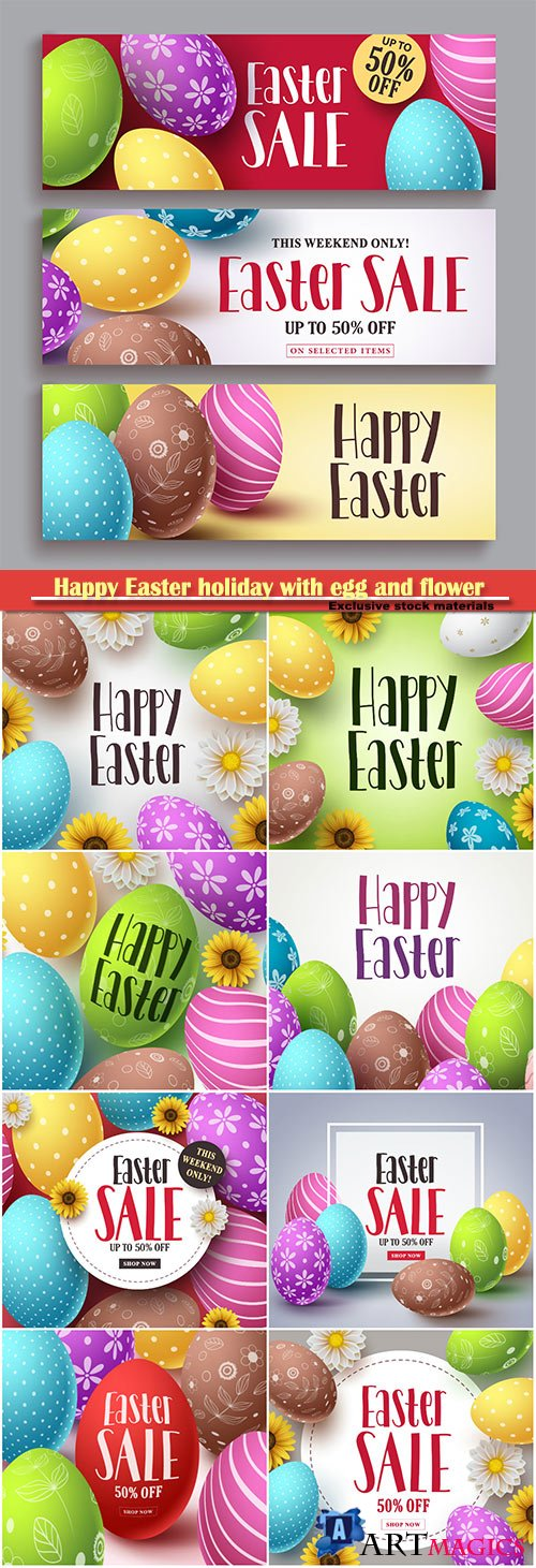 Happy Easter holiday with egg and flower, vector illustration # 1