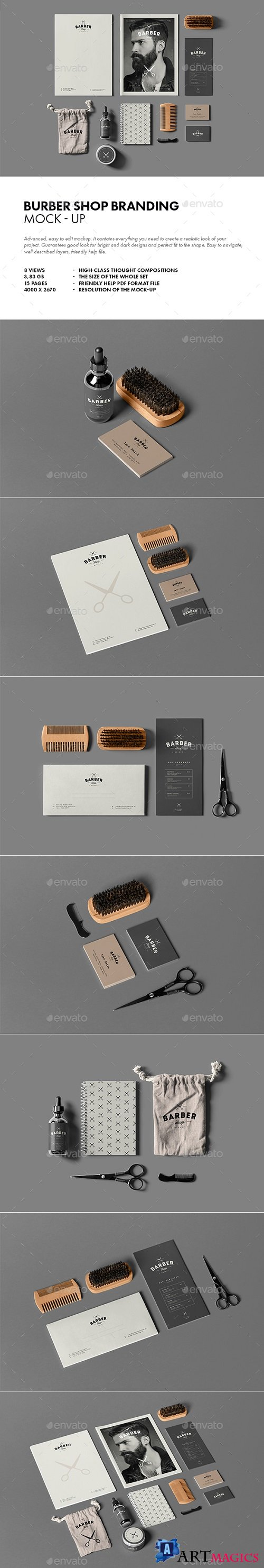 Barber Shop Branding Mock-up - 21570907
