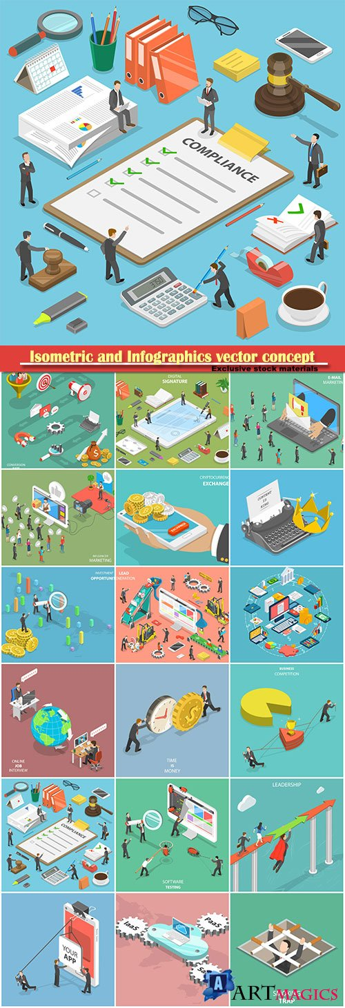 Isometric and Infographics vector concept, icon set on business style # 2