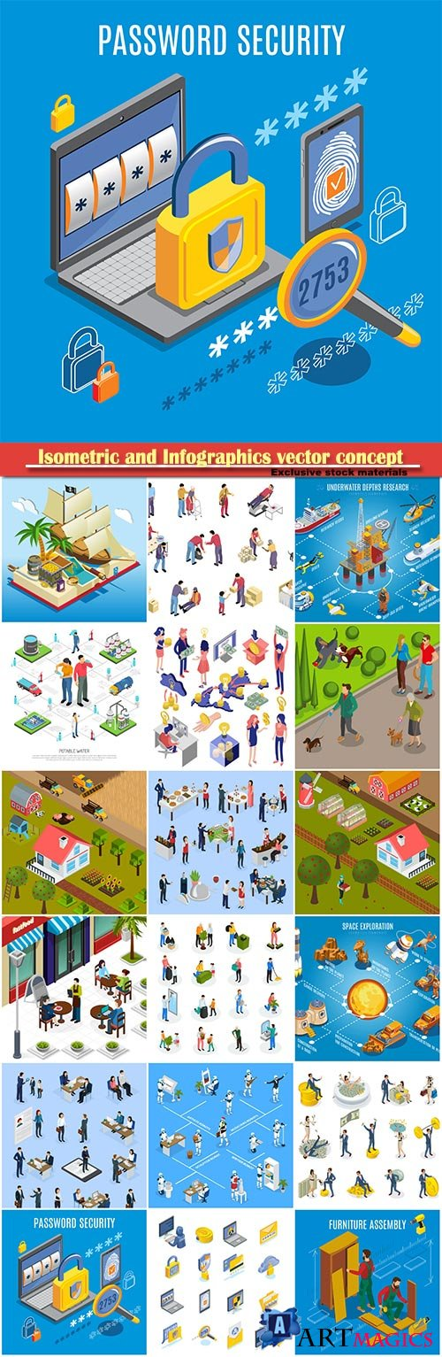 Isometric and Infographics vector concept, icon set on business style # 9