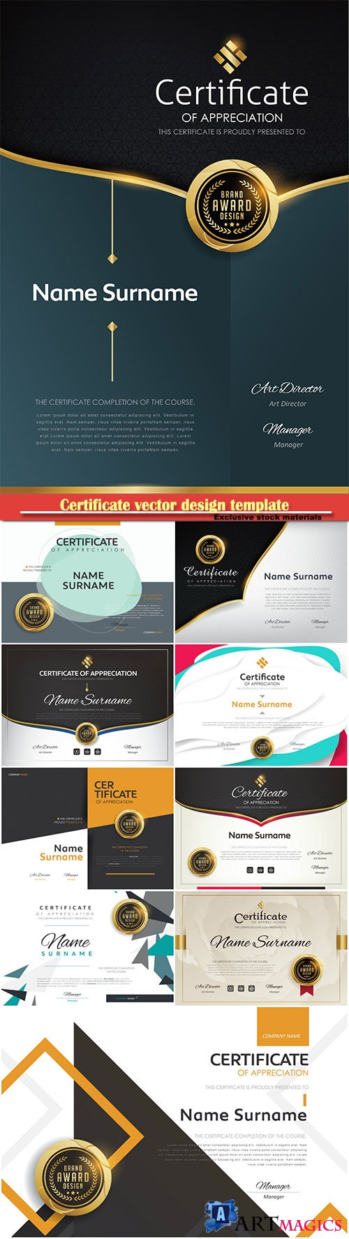 Certificate and vector diploma design template # 56