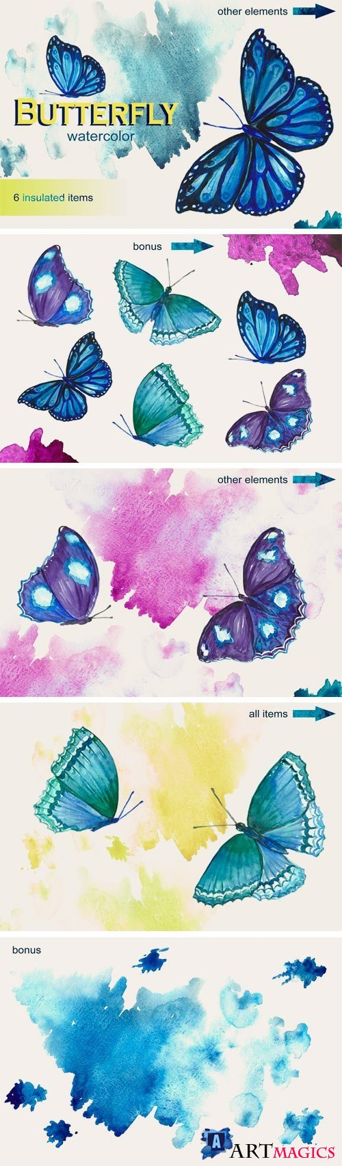Watercolor Butterflies - 2271148