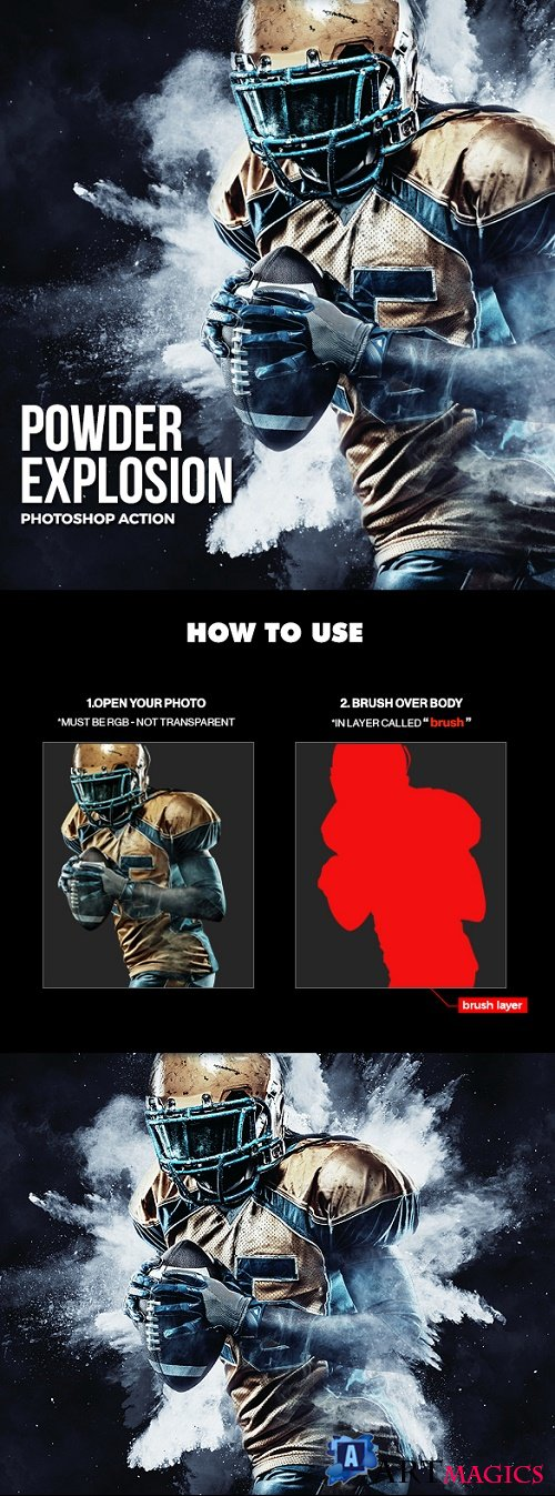 Powder Explosion Photoshop Action 21233661