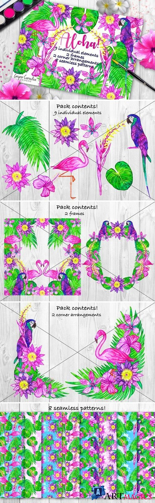 Alloha clipart and seamless patterns 1600764