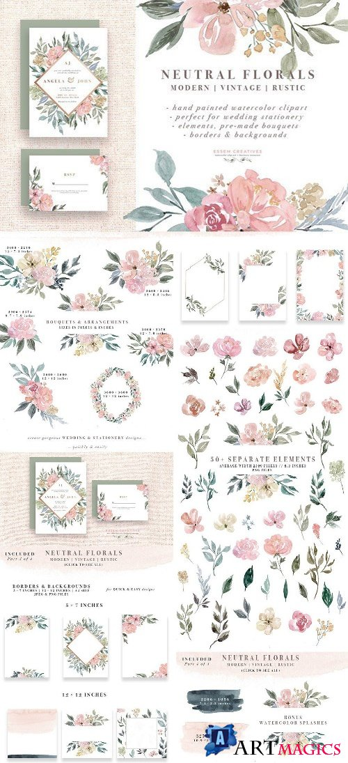 Neutral Watercolor Flower Graphics 1588293