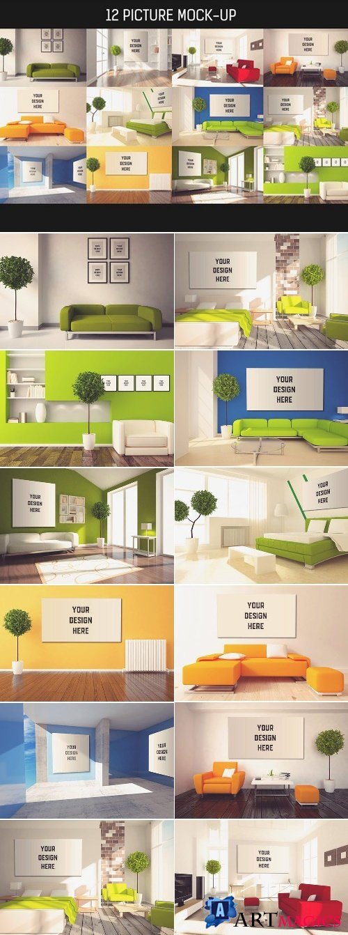12 Picture on Wall Mock-up Pack#4 1586270