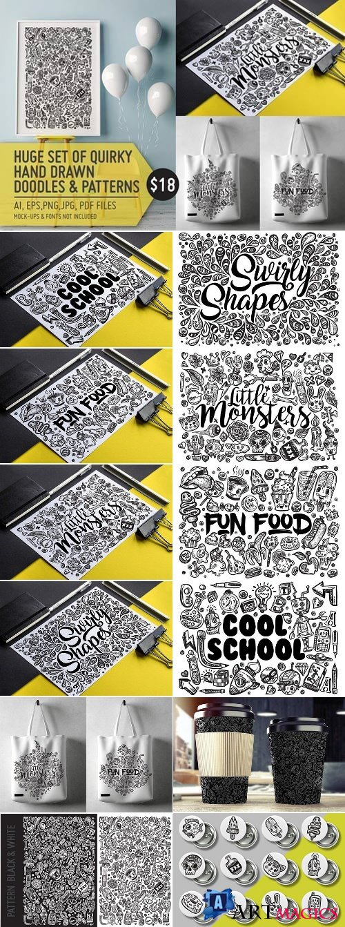 Hand Drawn Doodle Pattern & Sets 2 1589621