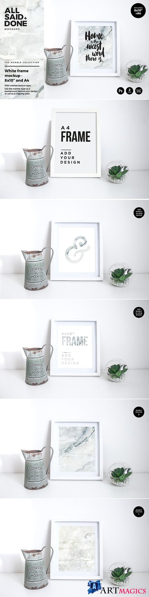 8x10 A4 White Frames With Marble 2260724