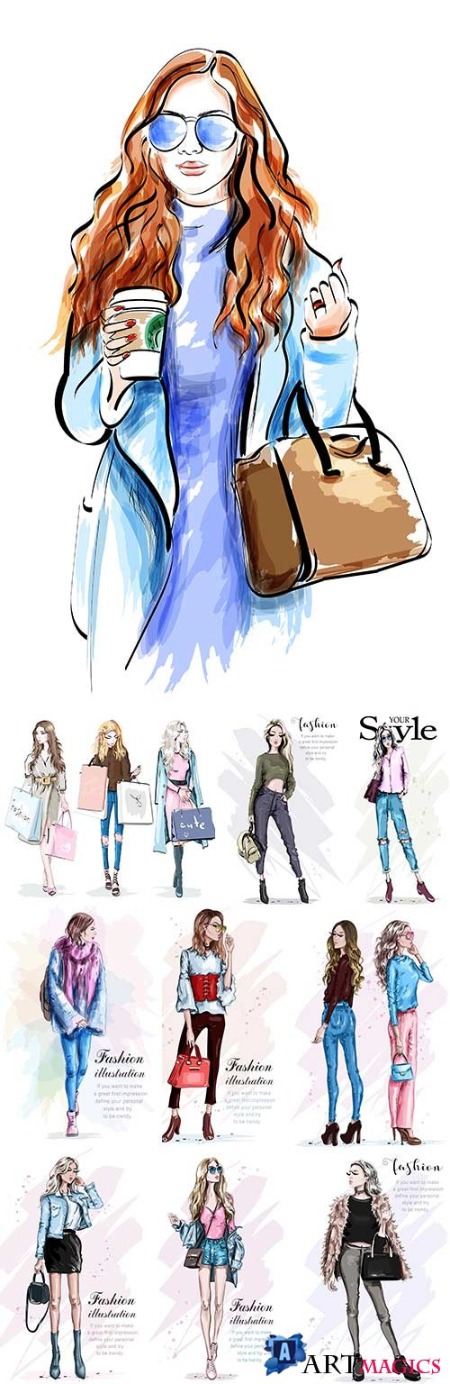 Stylish young girls with fashionable accessories