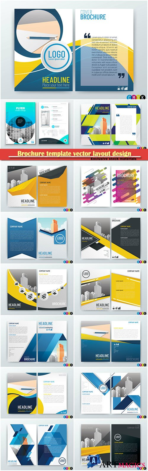Brochure template vector layout design, corporate business annual report, magazine, flyer mockup # 154