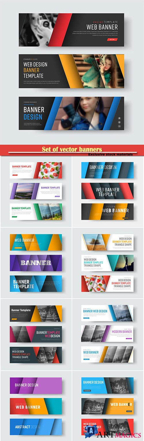Set of vector banners with diagonal colored lines with shadow