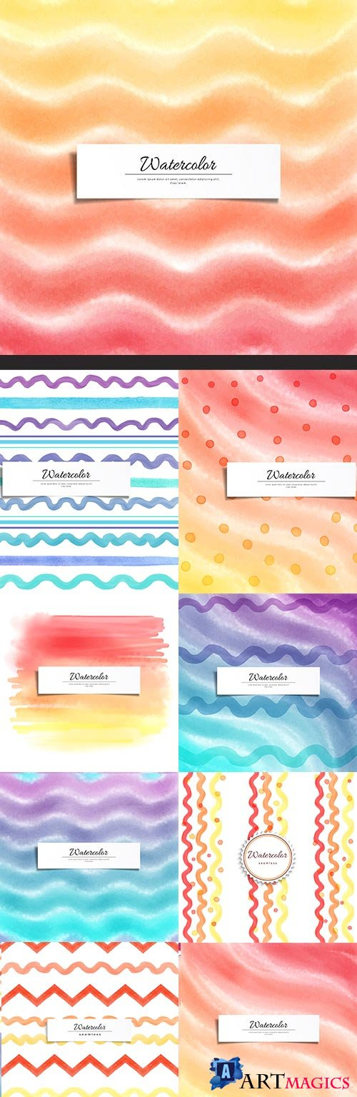 Watercolor lines and waves geometrical background