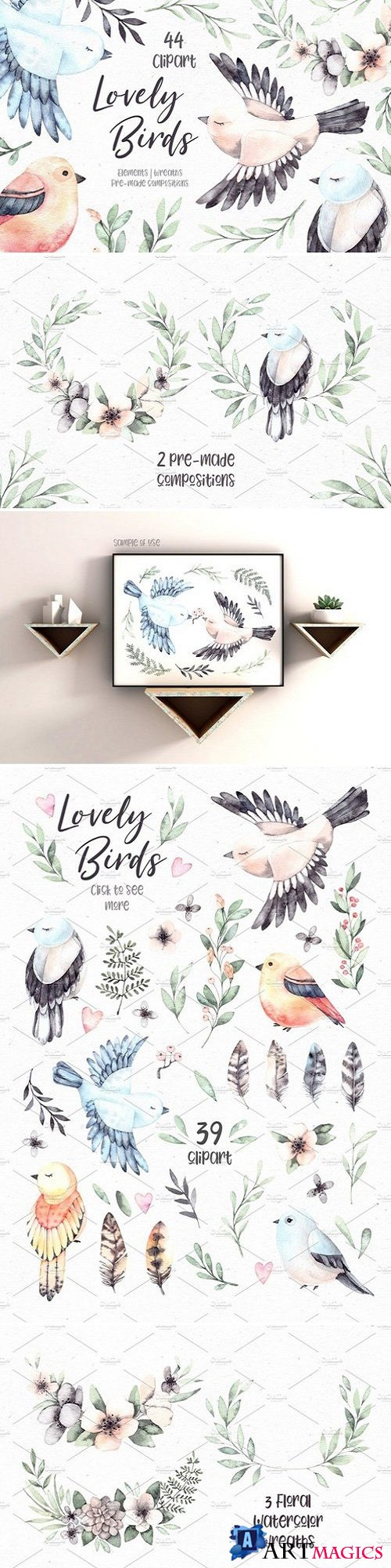 Lovely Birds. Watercolor set 2357190