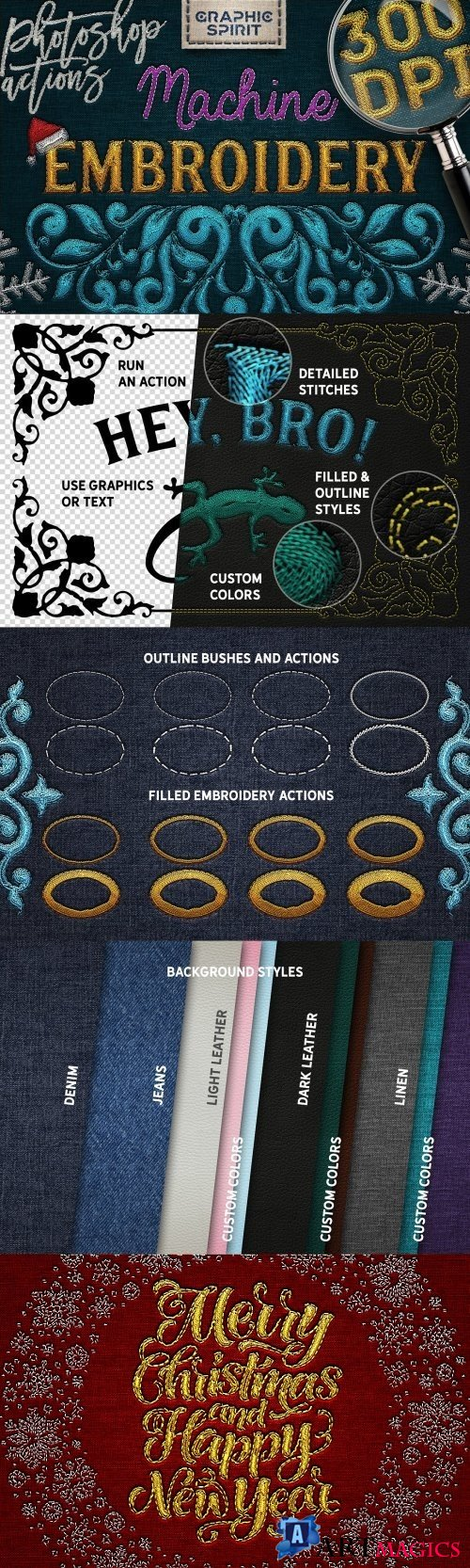 Machine Embroidery Photoshop Actions - 2167124