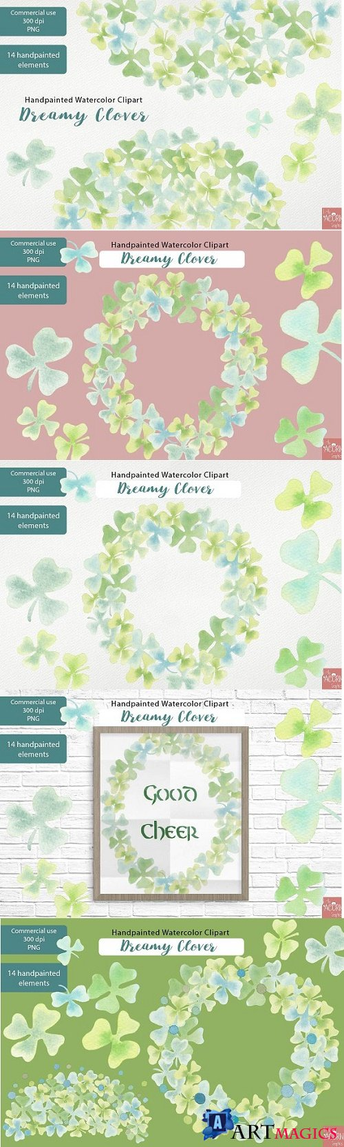 Watercolor Clipart Dreamy Clover PNG - 2322289
