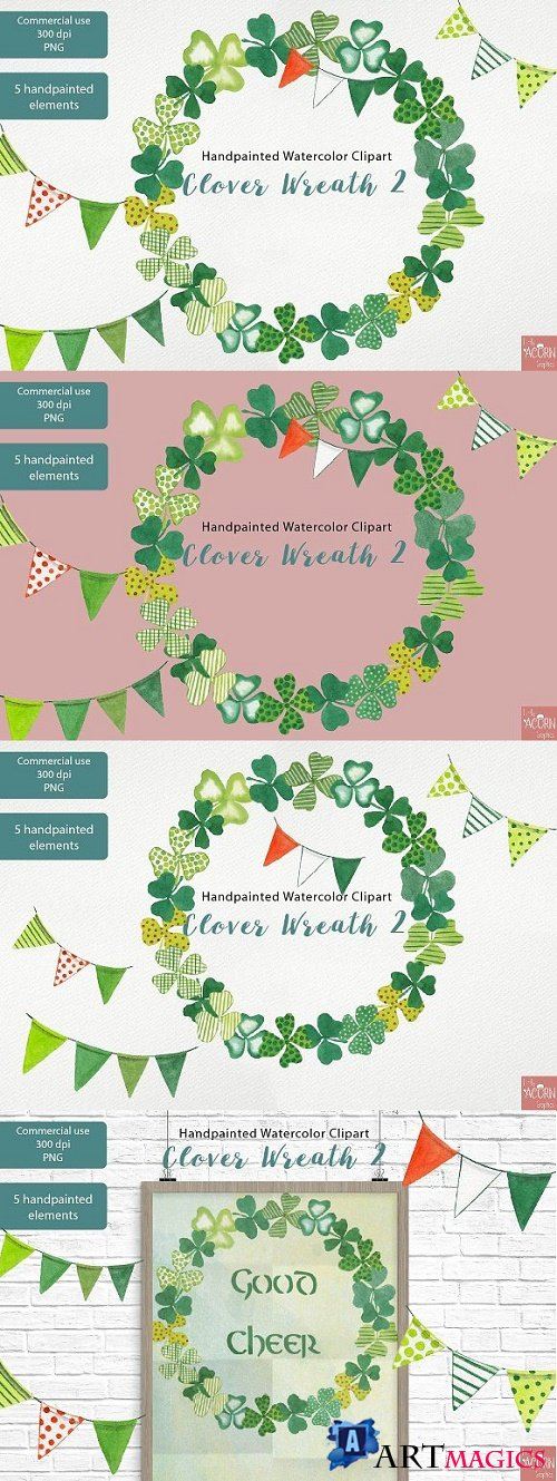 Clover Wreath 2 Watercolor Clipart - 2322118