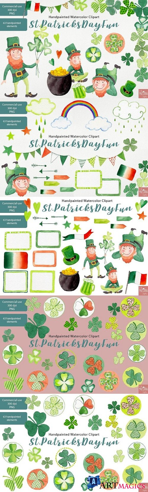 Watercolor Clipart St Patricks Day 2326711