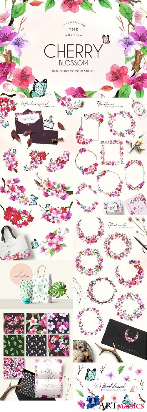 Floral Watercolor Set - CHERRY - 2412933