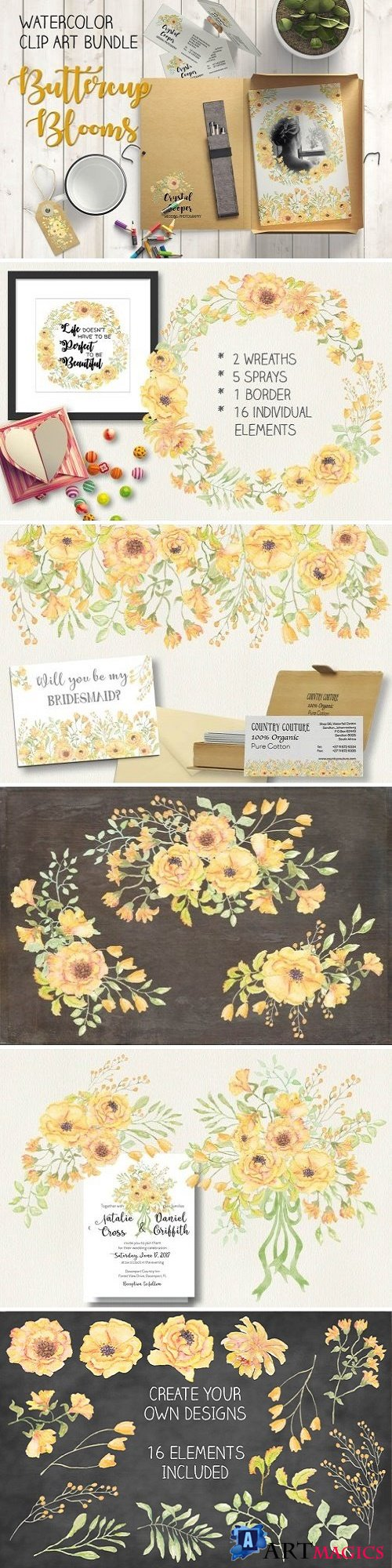 Watercolor bundle: Buttercup blooms - 1581184