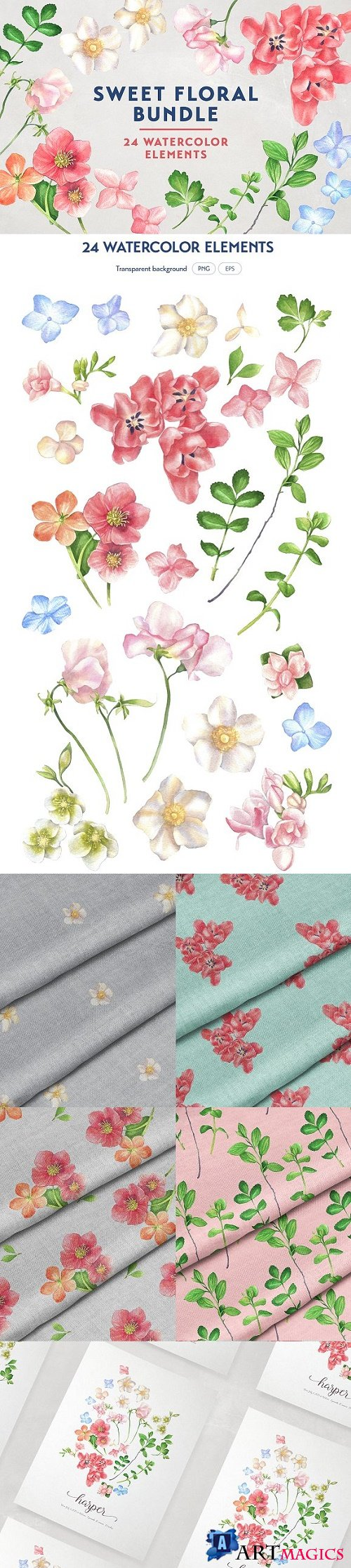 Sweet Floral Watercolor Bundle - 2111271