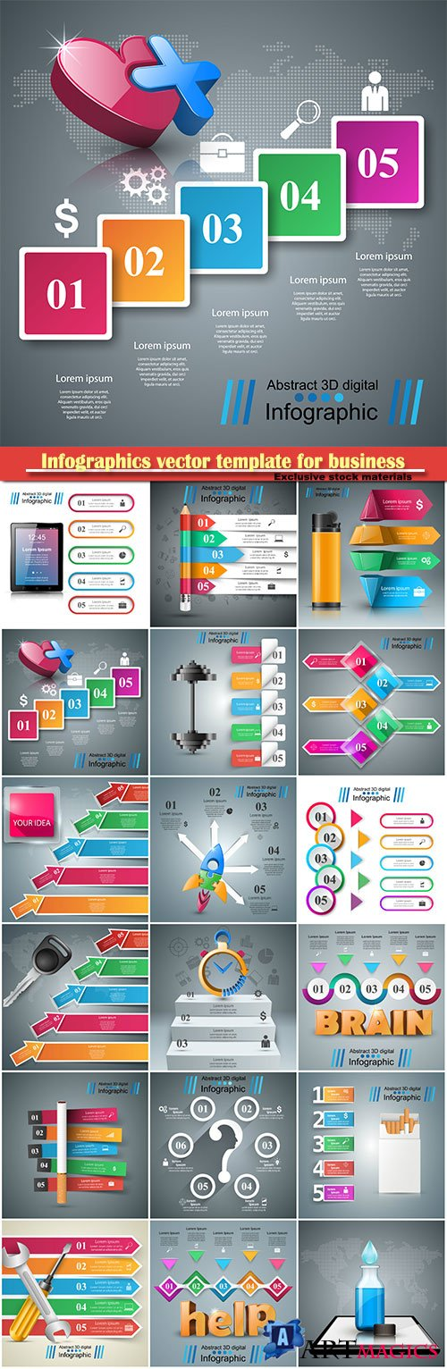 Infographics vector template for business presentations or information banner # 46