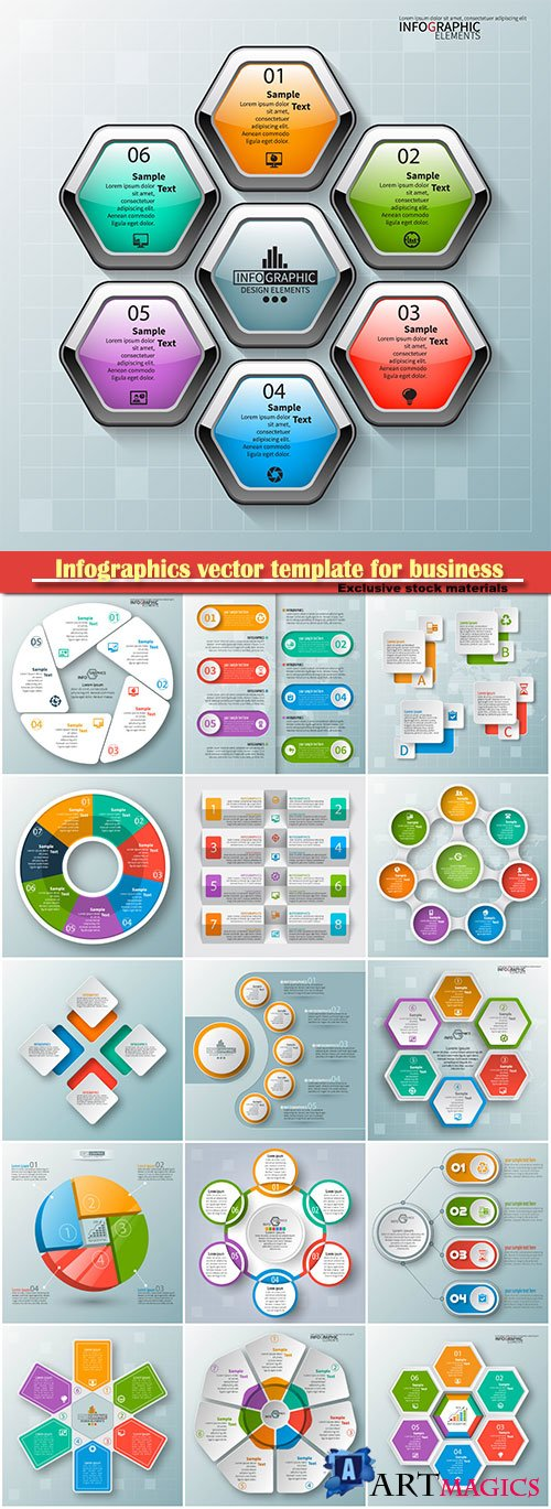 Infographics vector template for business presentations or information banner # 53