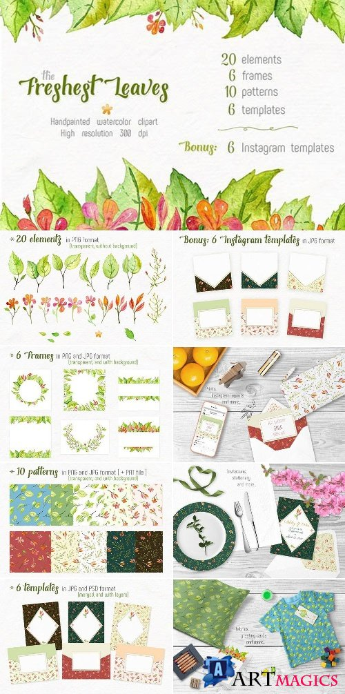 Freshest Leaves Watercolor Clip Art 2355735