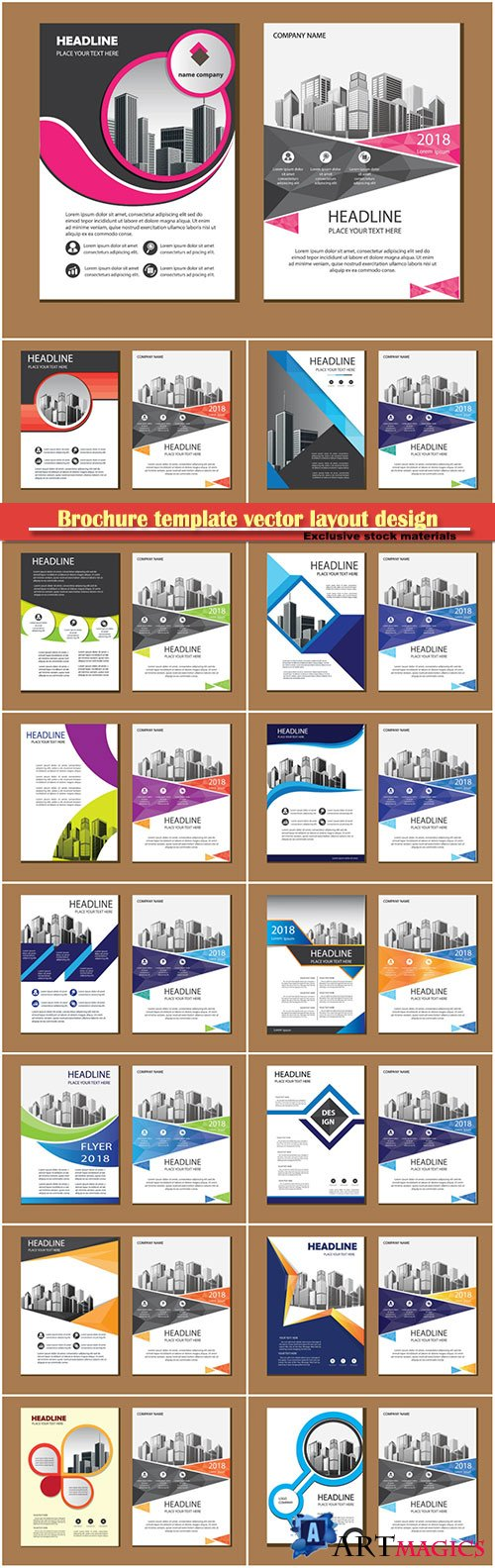 Brochure template vector layout design, corporate business annual report, magazine, flyer mockup # 164