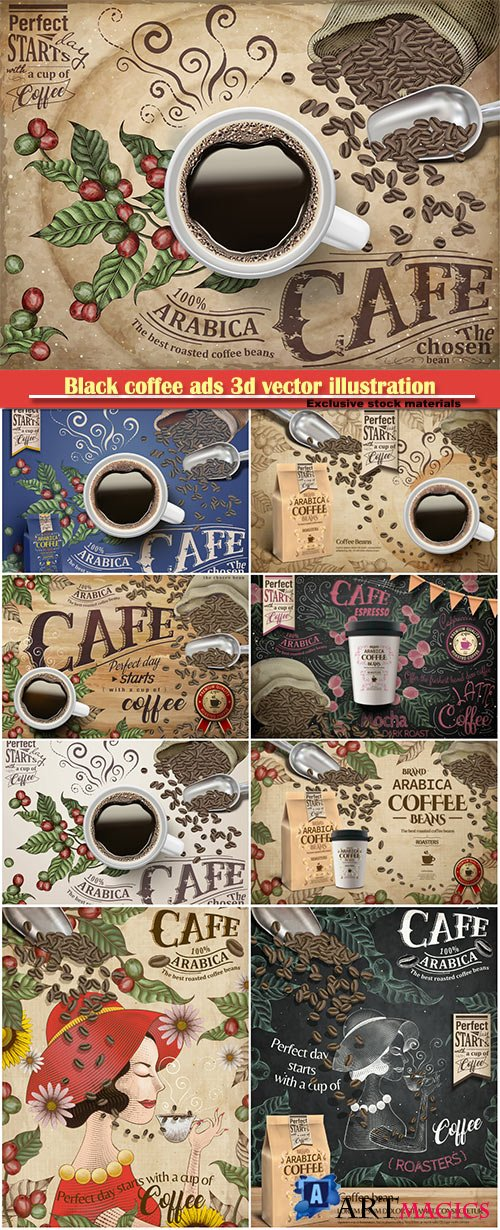 Black coffee ads 3d vector illustration, coffee beans and plants in engraving style