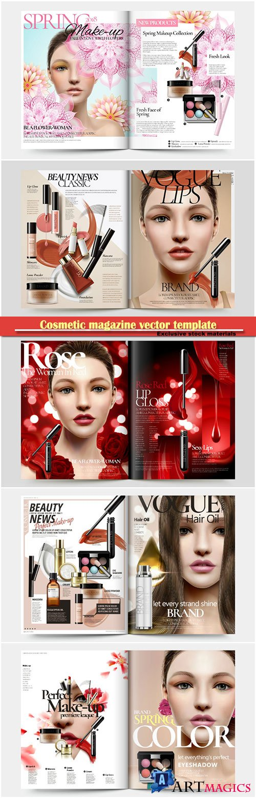Cosmetic magazine vector template, attractive model with product containers in 3d illustration # 5
