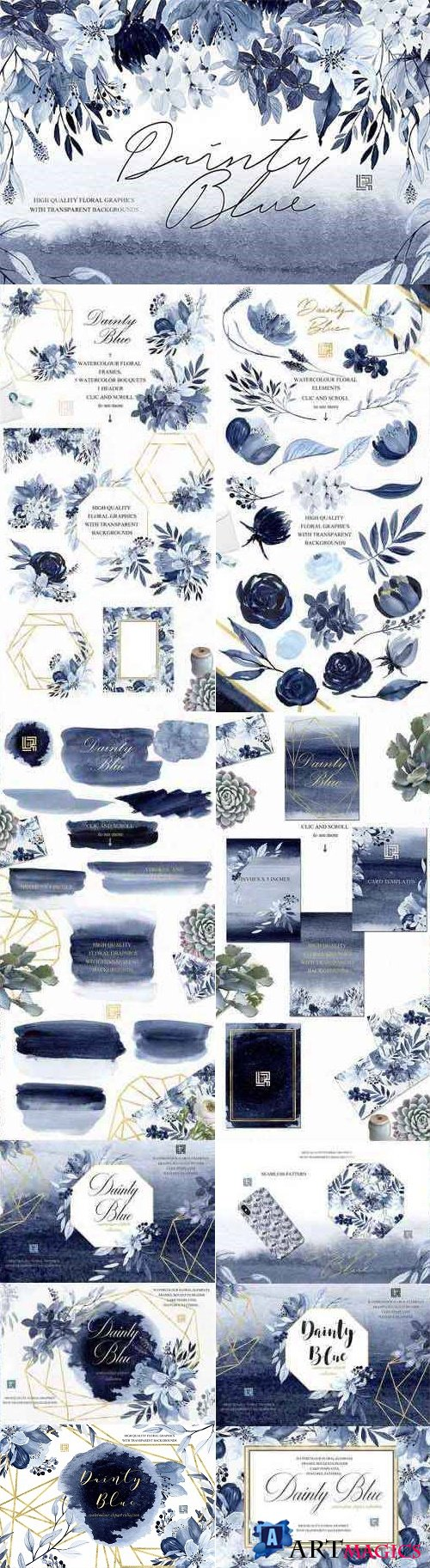 Dainty blue Navy blue flowers - 2414342