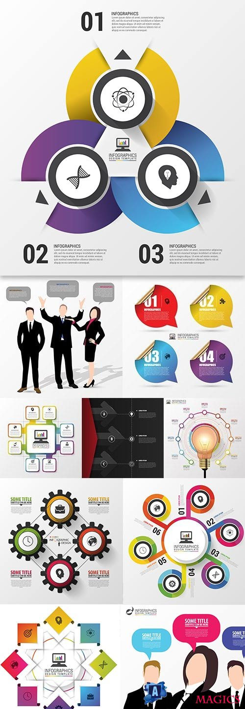Business elements Infographics design collection 173